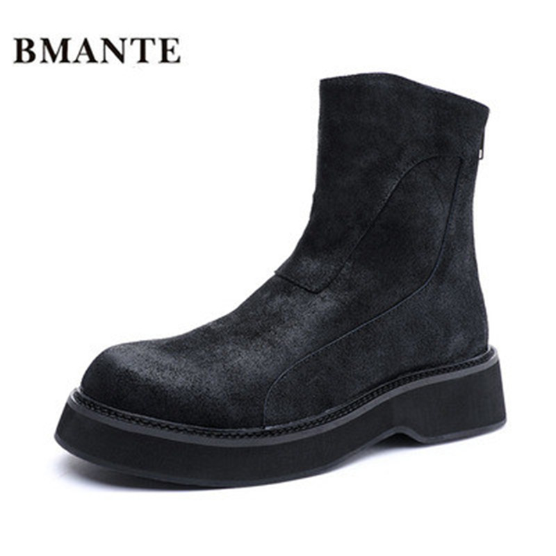 Bmante Men Boots Genuine Leather Burst crack Handmade Trainers Ankle Boots High Top Shoes for Men Goth Brand Sneakers Winter