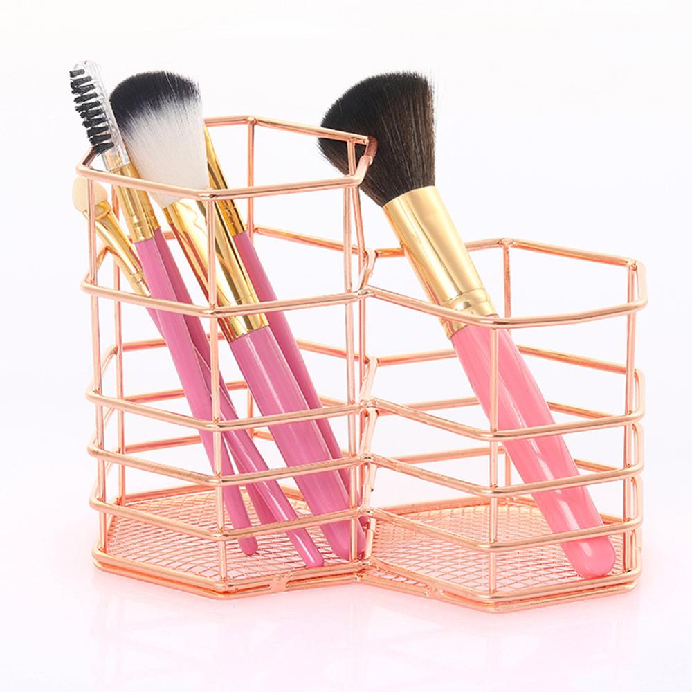 New Rose Gold Hollow Pen Holder Storage Container Table Organizer  2