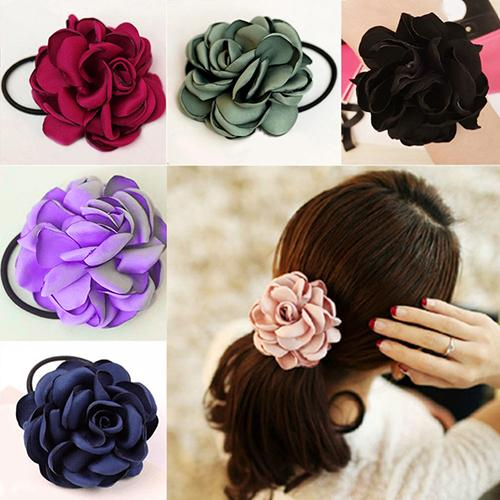 Hair Band Rope Camellia Flower Ponytail Holder Scrunchie Hairband Accessory