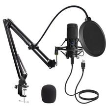 Micrófono USB condensador D80 para grabación, micrófono con soporte y anillo de luz para PC, Karaoke, transmisión de Podcasting para Youtube