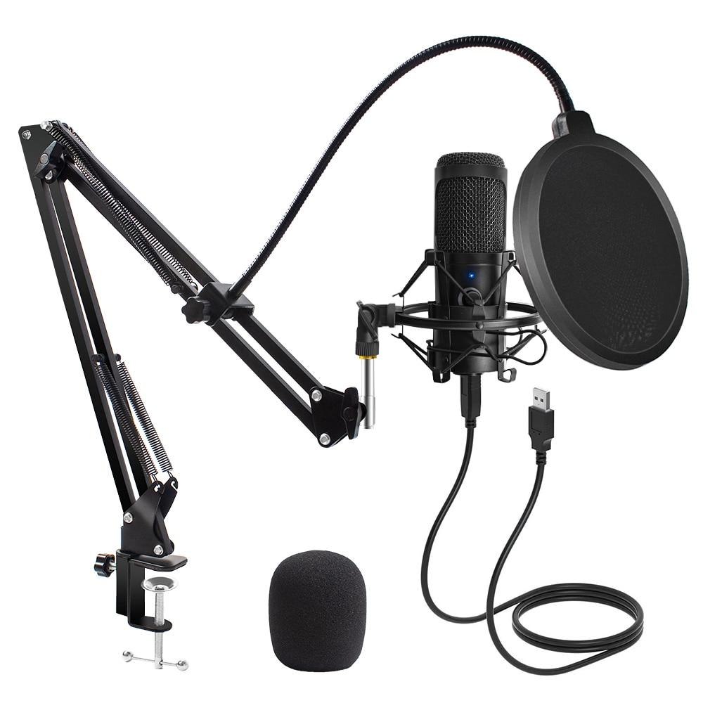 Usb'li mikrofon kondenser D80 kayıt mikrofonu standı ve halka ışık için PC Karaoke akış Podcasting Youtube