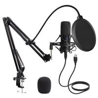 USB Mikrofon Kondensator D80 Aufnahme Mikrofon mit Ständer und Ring Licht für PC Karaoke Streaming Podcasting für Youtube