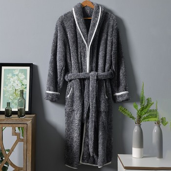 Casual Coral Fleece Men Nightgown Warm Sleepwear Robe Flannel Kimono Gown Thicken Homewear Intimate Lingerie Winter Home Clothes flannel men robe homewear winter new home clothes sleepwear coral fleece thicken nightwear casual bathrobe gown soft nightgown