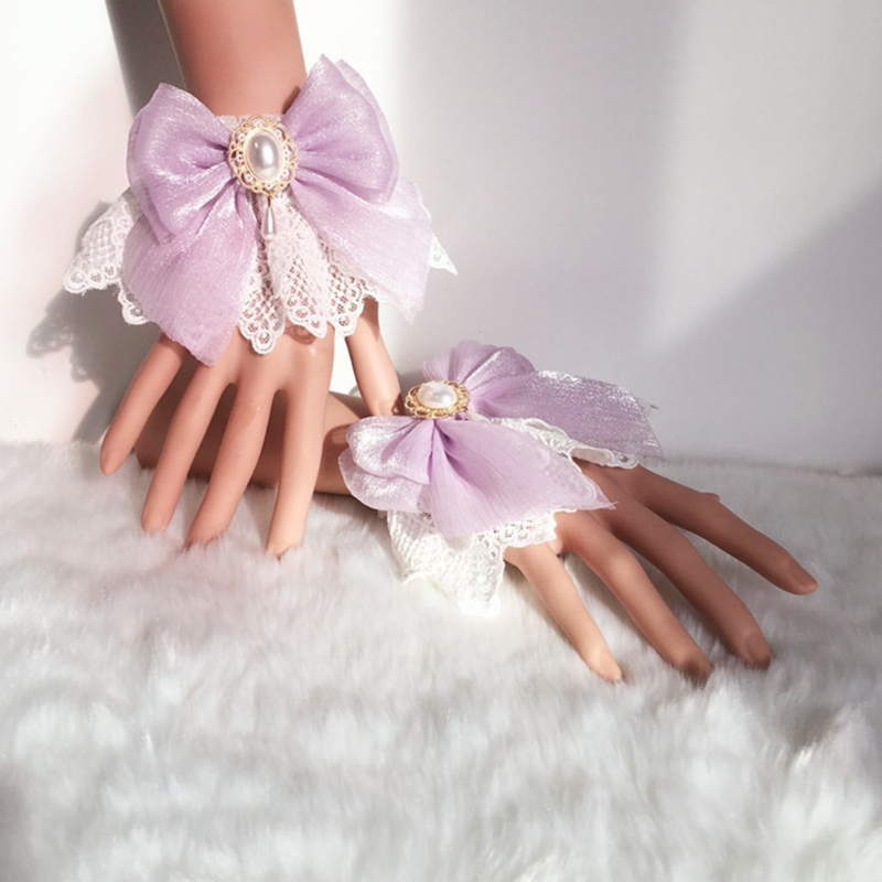 Sweet Lolita Wedding Hand Wrist Cuffs Double Layer Floral Lace Tulle Bow Bracelet Wristband Imitation Pearl Charm Jewelry Cospla