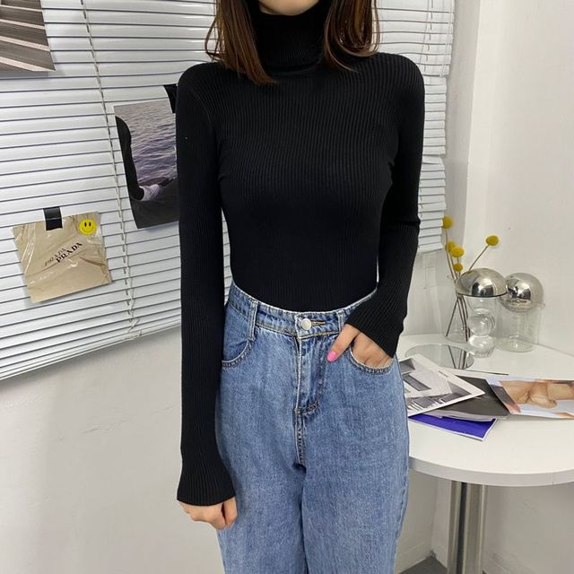Basic Turtleneck Women Sweaters 2020 Autumn Winter Tops Korean Slim Women Pullover Knitted Sweater Jumper Soft Warm Pull Femme 6