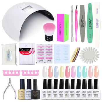 Elite99 13 stücke Gel Nagellack Kit mit 24W Nagel Trockner UV/LED lampe Schleifen Kit Maniküre Set für Nägel Nail art Nagel Werkzeuge Set