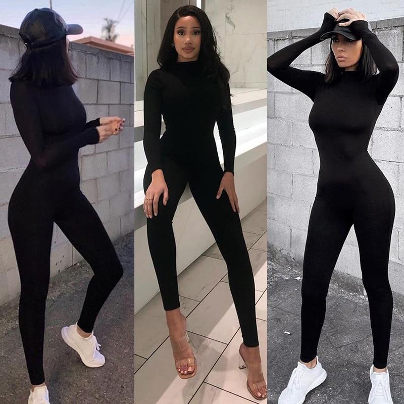 Весна 2021, женский сексуальный комбинезон, уличная одежда, облегающий однотонный спортивный Комбинезоны и ромперы для женщин, боди
