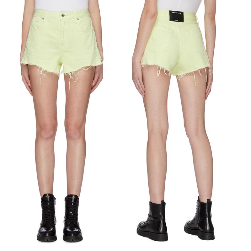 2020 Spring Summer Women Fluorescent Green Women Green Leisure Shorts Denim Shorts A2