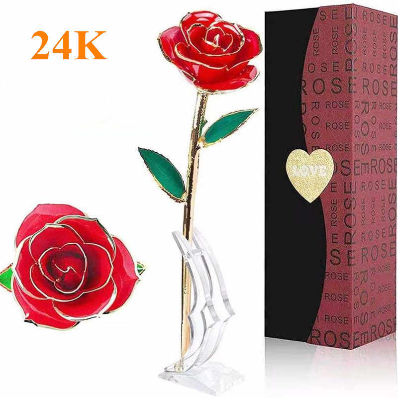 Handmade 24k gold plated rose forever real Rose Artificial flowers home decoration craft Valentine Christmas birthday gifts