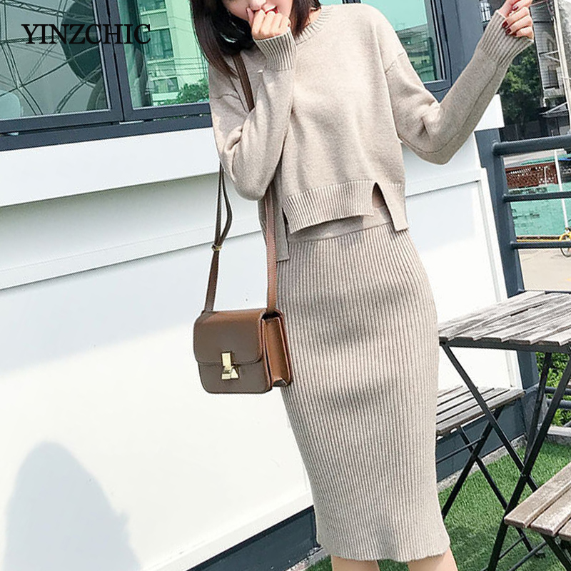 2019 Winter Woman Knitted Suit Loose Sweater + Pencil Skirt Set For Woman New Warm Female Casual Two-pieces Suits Autumn