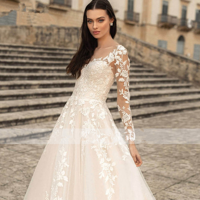Lace Applique Glitter Tulle Wedding Dress Long Sleeved Scoop Neck Vintage A Line Bridal Gown Lace-up Open Back Elegant Ivory 3