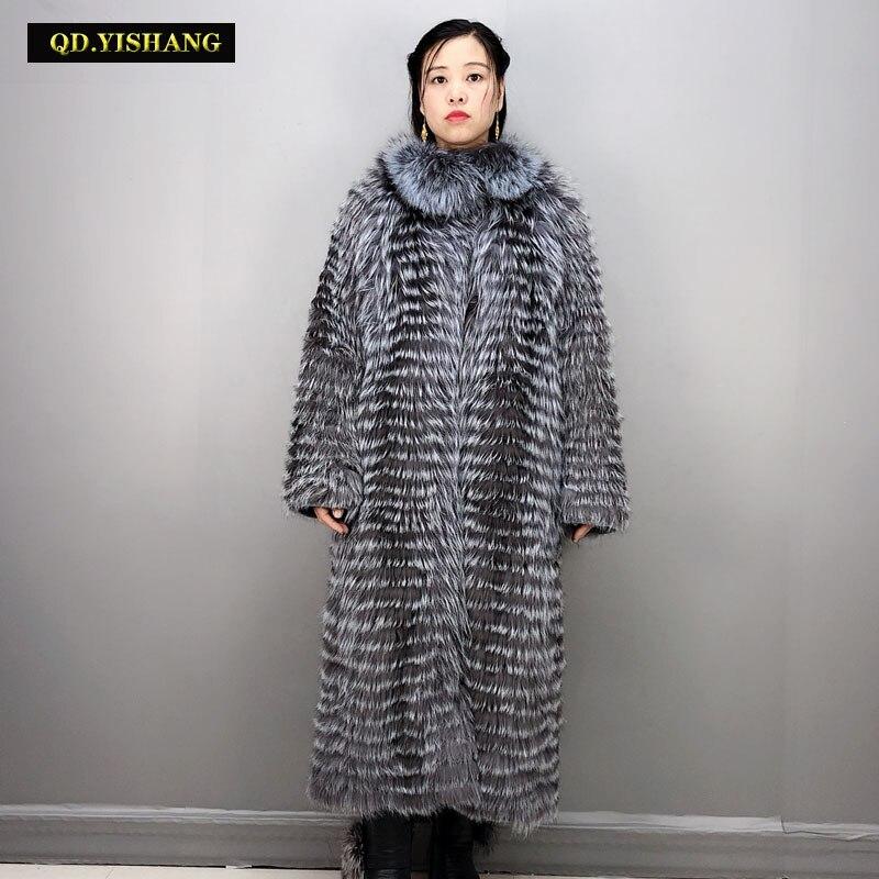 Femme longue vraie fourrure hiver manteaux naturel fourrure de renard long manteau réel manteau de fourrure femmes hiver manteau femmes argent renard col debout