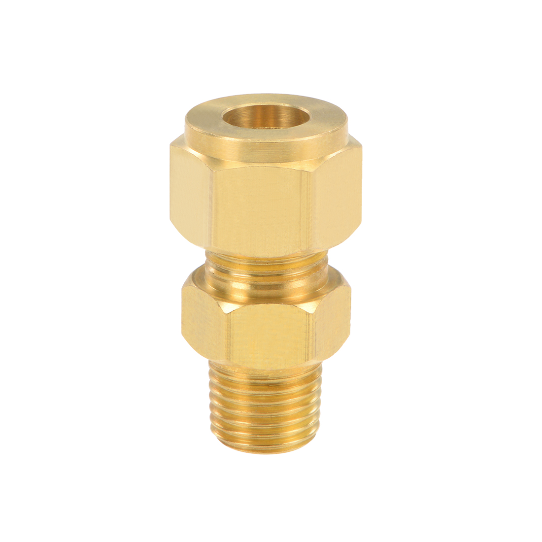 uxcell Brass Compression Tube Fitting 9.6mm OD 1/4 <font><b>NPT</b></font> Male Thread Pipe <font><b>Adapter</b></font> for Water Garden Irrigation System image