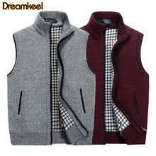 Warm Fleece Sweater Coat Plus SIze Mens Winter Wool Sweater Vest Mens Sleeveless Knitted Vest Jacket Men's Cardigan R(China)