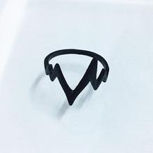 De moda Vintage Punk ECG Heartbeat anillo para mujer novia joyería regalos 3 colores rayo Anillos de cola