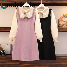 Vestido de princesa menina mais jovem estudantes sweety estilo bowknot roxo falso duplo vestido de malha algodão macio primavera roupas