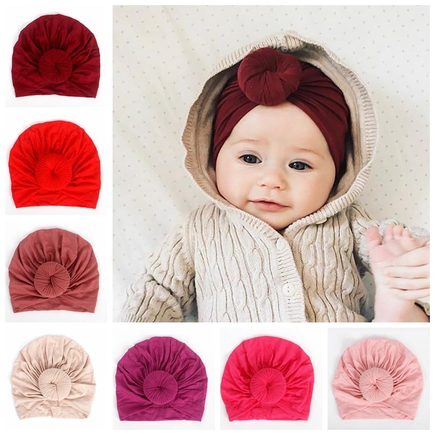 Nishine Infant Newborn Caps With Knot Round Ball Cotton Blend Nylon Turban Girls Stretchy Beanie Hat Baby Kids Hair Accessories