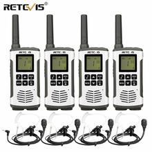 Retevis RT45 PMR Walkie Talkie 4pcs PMR Radio+4pcs Headset PMR 446MHz FRS Walky Talky Professional Transceiver For Motorola TLKR