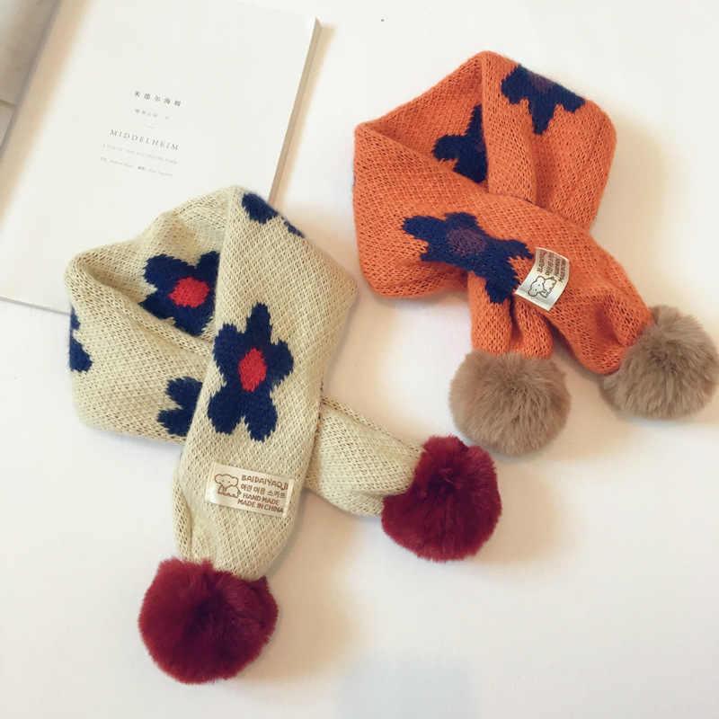 Милый цветной зимний шарф в цветочек, детский снуд, вязаный плотный теплый воротник, детский шарф с меховым помпоном, шаль в стиле Харадзюку, уличная одежда