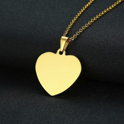Vnox Simple Heart Pendants for Women Men Necklace Plain Stainless Steel Choker Classic Unisex Jewelry