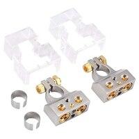 BEST2PCS 0/4/8/10 Gauge AWG akumulator samochodowy złącza zaciskowe z podkładkami dystansowymi  dodatni ujemny chrom zaciski do akumulatora w Akcesoria do baterii od Elektronika użytkowa na