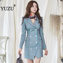Work Dress Blazer Office Blue Striped Long Sleeve Double-breasted Suit Collar 2019 Fall Fashion Women Business