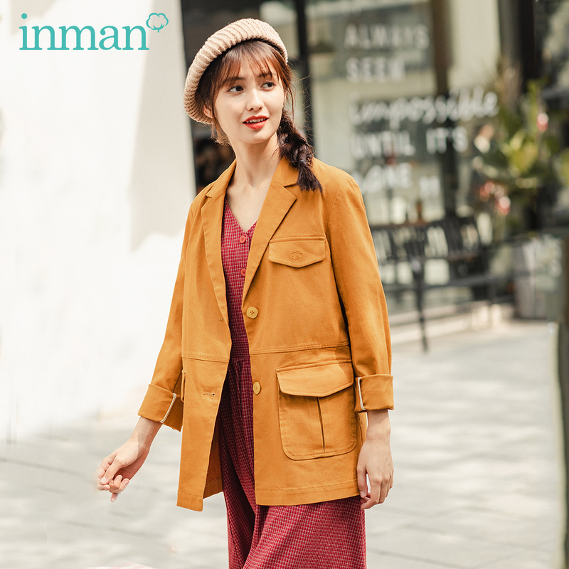 INMAN 2020 Spring New Arrival Literary Retro Lapel Single Breasted Loose Long Women Suit