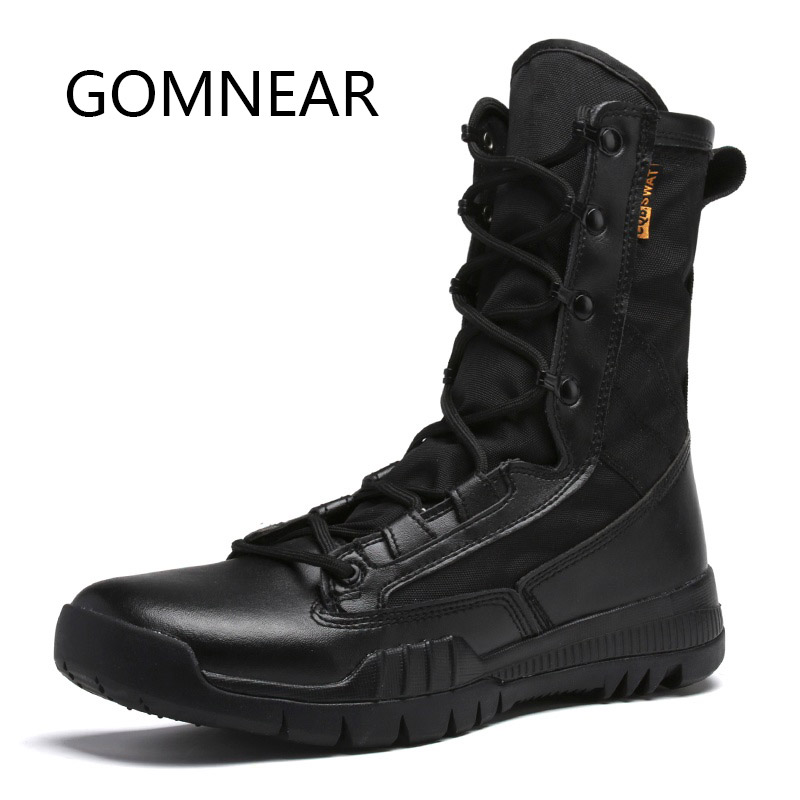 GOMNEAR Tactical Boots Military Combats Winter Soldier Boots Outdoor Trekking Hiking Shoes Climbing Man Mountain Hiking Boots