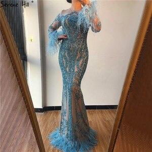 Image 2 - Azul manga longa penas lantejoulas vestidos de noite dubai sereia vestidos de noite luxo 2020 sereno hill la60932