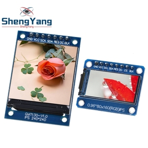 TZT TFT Display 0.96 / 1.3 inch IPS 7P SPI HD 65K Full Color LCD Module ST7735 Drive IC 80*160 (Not OLED) For Arduino