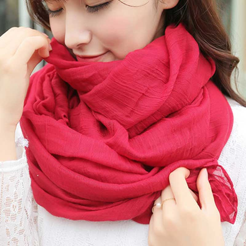 180*50 Women Autumn Winter Scarf Pashmina Cape Luxury Warm Solid Linen And Cotton Fashion Female Multi-purpose Shawl