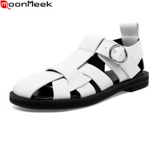 MoonMeek 2021 Big Size 34-42 Women Sandals Comfortable Low Heel Classic Casual Shoes Summer High Quality Gladiator Sandals