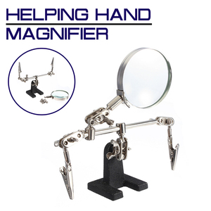 Helping Third Hand Tool Soldering Stand With 4X Welding Magnifying Glass led 360 Degree Rotating Adjustable 2 Alligator Clips
