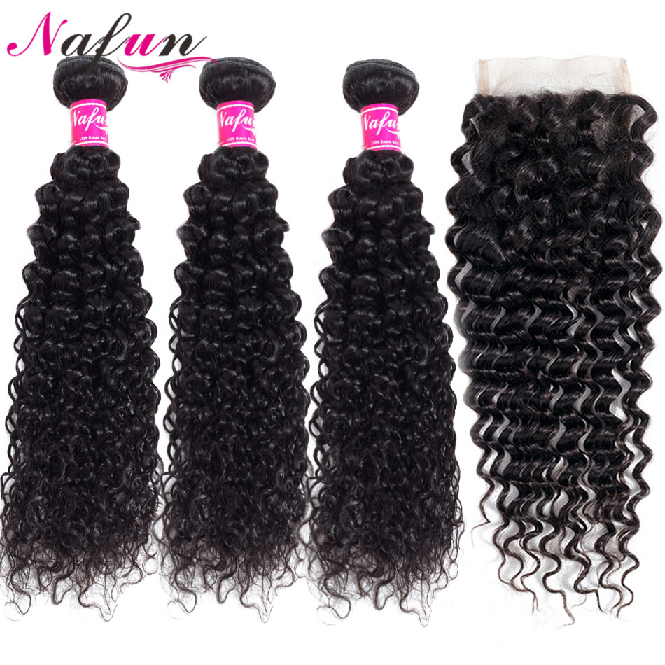 30 Inch Kinky Curly Hair Bundles With Closure Human Hair weave Bundles With Closure Peruvian Natural Non Remy Hair Extension-in 3/4 Bundles with Closure from Hair Extensions & Wigs    1