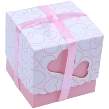 50x Свадебная коробка для конфет в форме сердца+ розовая лента
