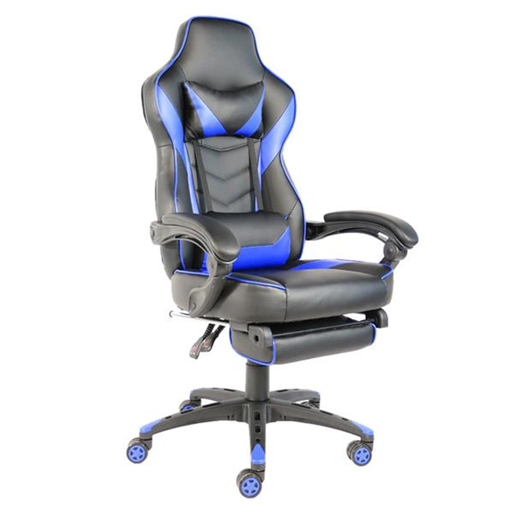 High Quality C-type Foldable Nylon Foot Racing Chair With Footrest Black & Blue Racing Chair Foldable Office Swivel Chair