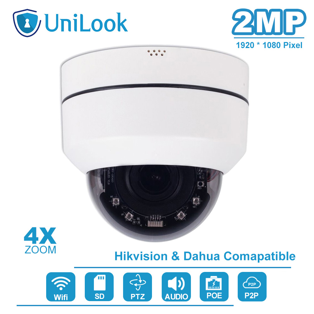 2MP Mini Wifi PTZ Dome Camera Outdoor 4X Optical Zoom Built-in SD Card Slot Two Way Audio Home Security Cam Default H.265