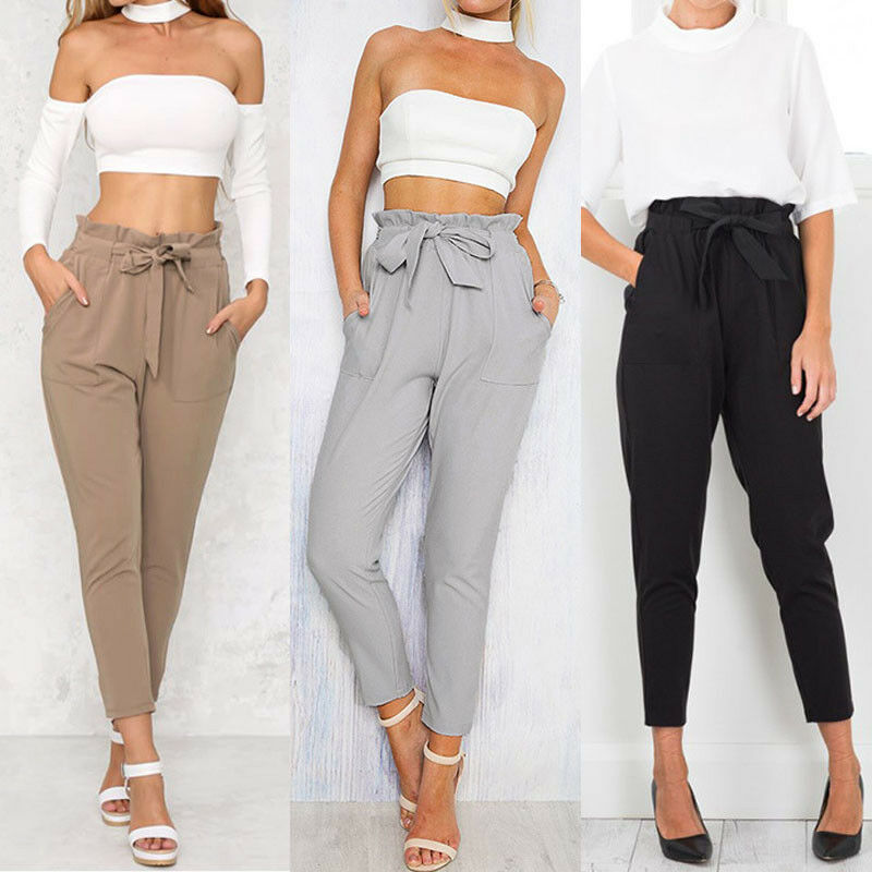 Brand New Women High Waist Elastic Harem Pants Casual Chffion OL Lady Ankle Length Capris Trouser Women Clothing Pencil Pants