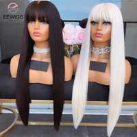 EEWIGS-peluca larga de color negro con flequillo para mujer, peluca sintética con malla frontal, rosa, rojo, sin pegamento, resistente al calor, rubio platino, 613