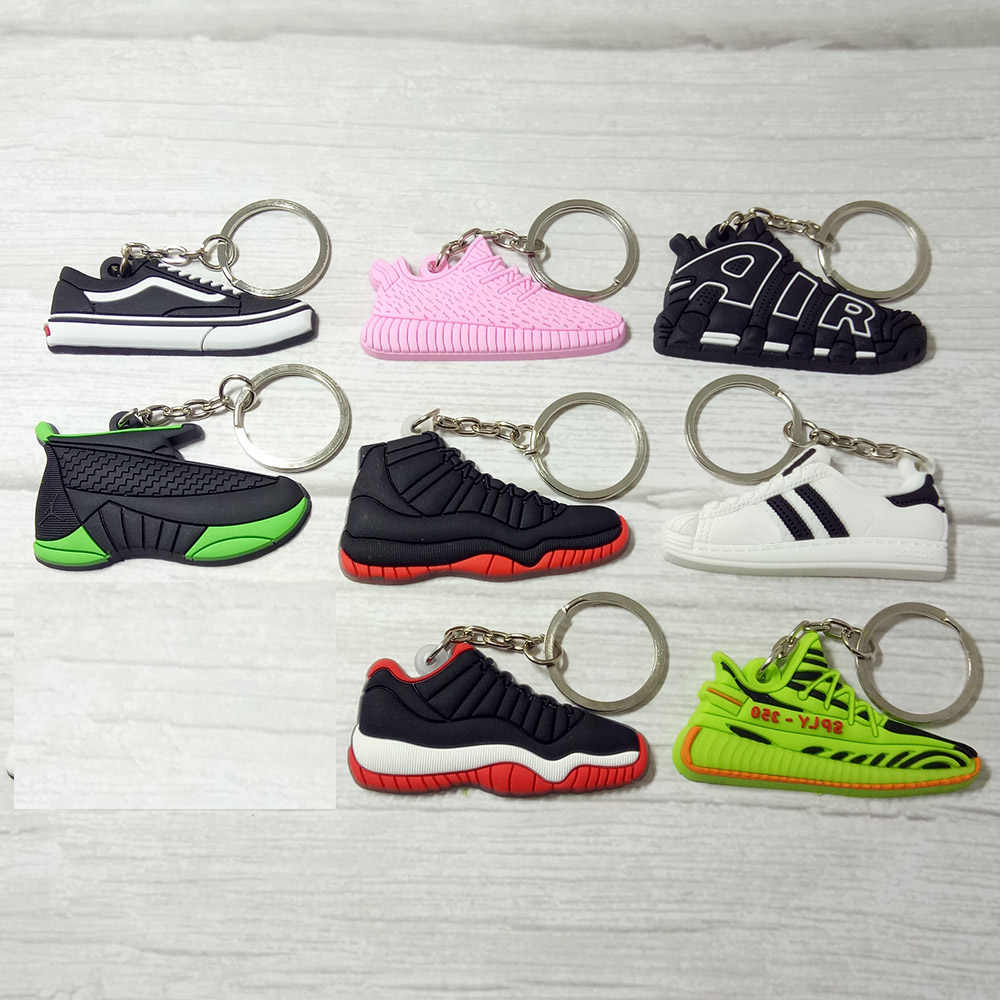 Silicone Jordan Key Chain Shoes Keychain Bag Charm Woman Men Kids Key Ring Gifts Sneaker Key Holder Accessories