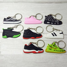 Silicone Jordan Key Chain Shoes Keychain Bag Charm Woman Men Kids Key Ring Gifts Sneaker Key Holder Accessories(China)
