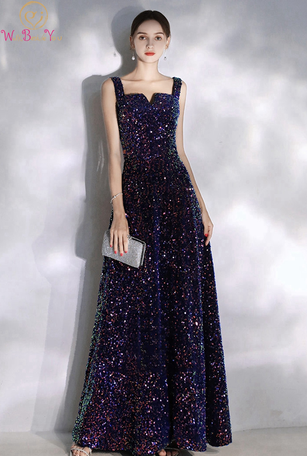 New Style Sequined Prom Dresses 2019 Elegant Women Navy Blue Sleeveless Bling Formal Party Long Evening Gowns Vestidos De Gala