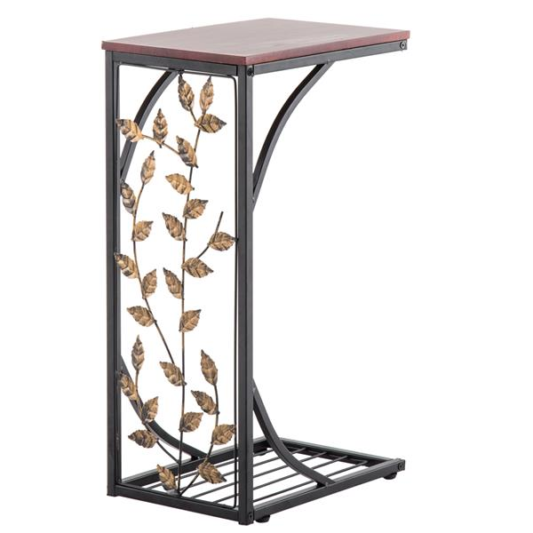 54*30.5*21CM Leaf Pattern Iron Side Table Coffee Table Brown , Versatile End Table Sofa Table Living Room Table