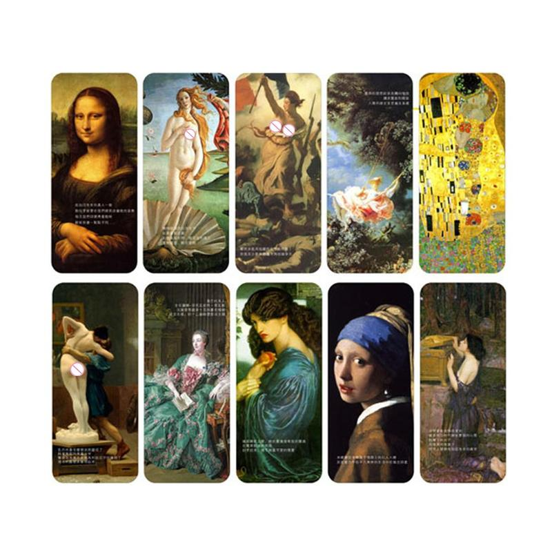 10pcs/sset Classic Portrait Bookmark Painting Retro Painting Stationery Gift Collection Prize Cardboard Student Bookmark C9P9