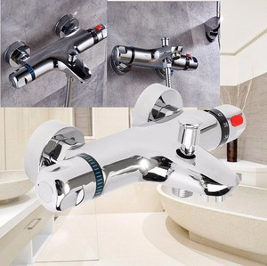 Bathroom Thermostatic Mix Bath Shower Faucets Water Control Valve Wall Mounted Ceramic Two Handle Mixer Faucet Tap(China)