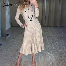 Simplee винтажное плиссированное платье в клетку с поясом женское элегантное офисное женское платье-блейзер с длинным рукавом же