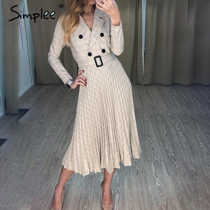 Simplee Vintage pleated belt plaid dress women Elegant office  ladies blazer dresses Long sleeve female autumn midi party  dressDresses