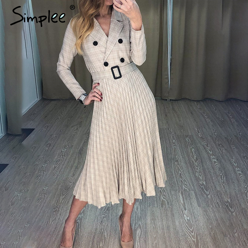 Simplee VINTAGE จีบเข็มขัดลายสก๊อตผู้หญิงชุดสุภาพสตรี Elegant Office Blazer ชุดเดรสแขนยาวหญิงฤดูใบไม้ร่วง MIDI PARTY DRESS