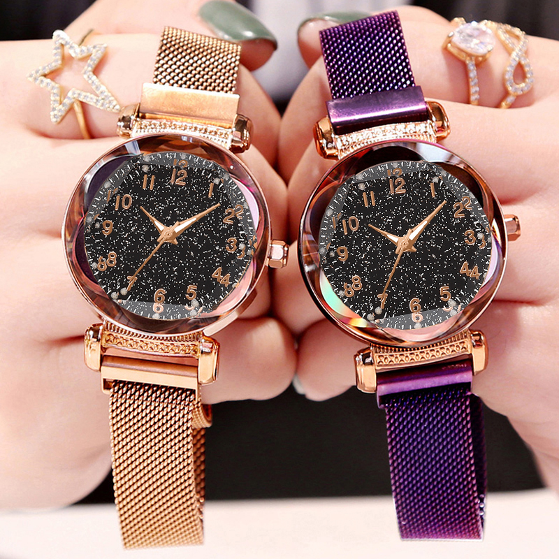 Drop Shipping Women Mesh Magnet Buckle Starry Sky Watch Luxury Ladies Geometric Flower Surface Quartz Watches Relogio Feminino