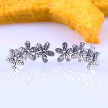 925 panela de prata esterlina brinco deslumbrante daisy clusters com pregos de cristal brinco feminino moda de para presente de casamento